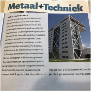 Verum met een kleine bijdrage in de laatste uitgave van Metaal+Techniek; het vakblad voor MKB metaal